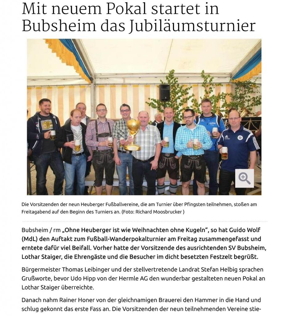 22.05.15 Spaichingen Mit neuem Pokal startet in Bubsheim das Jubil+ñumsturnier-1