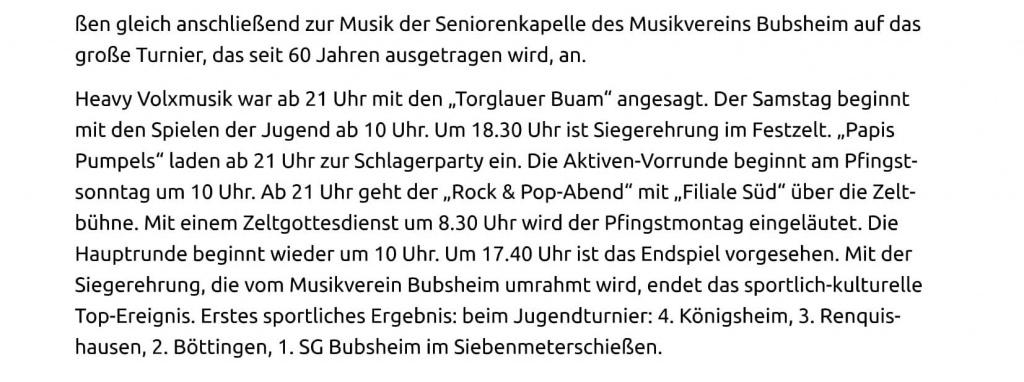 22.05.15 Spaichingen Mit neuem Pokal startet in Bubsheim das Jubil+ñumsturnier-2